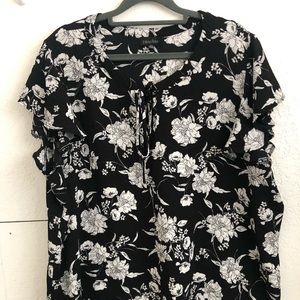 Plus size front tie ruffle sleeve top